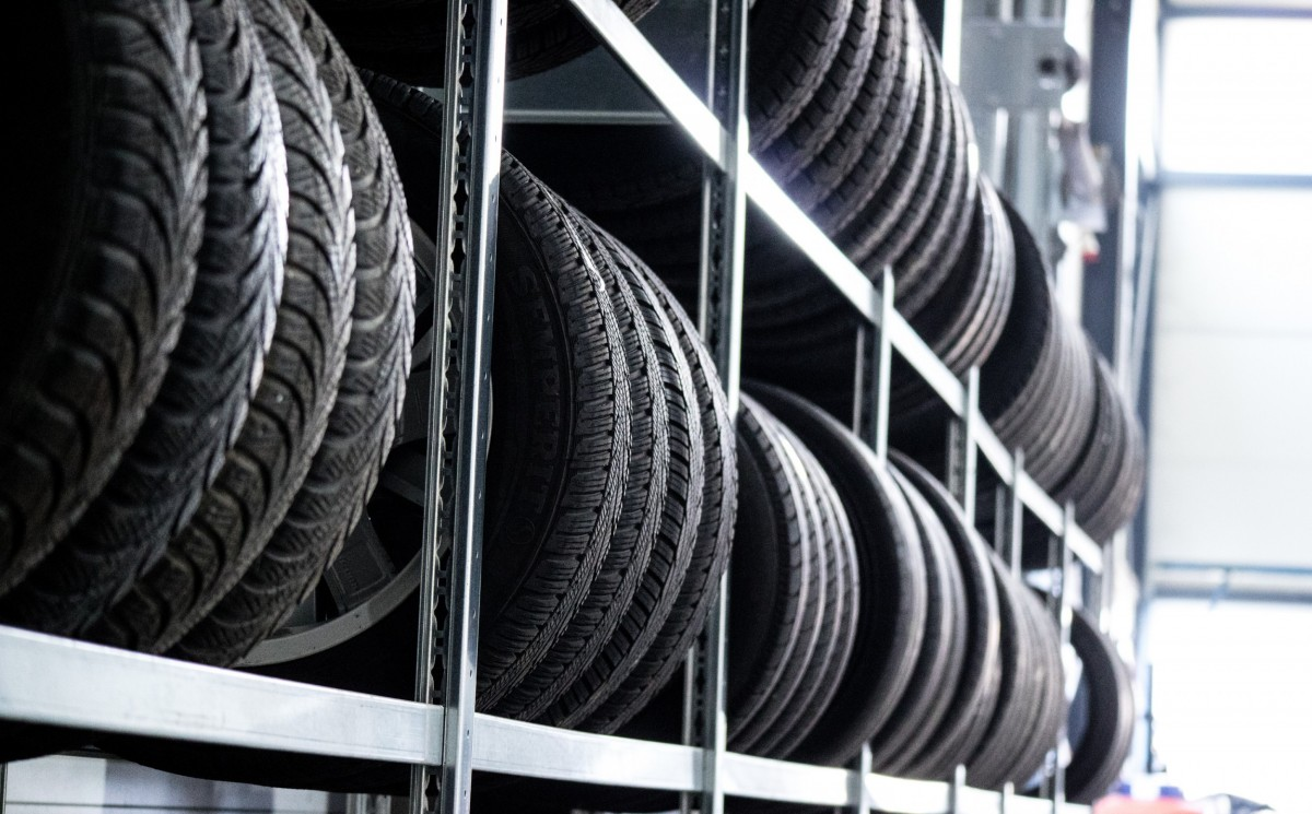 Tires lined up on racks